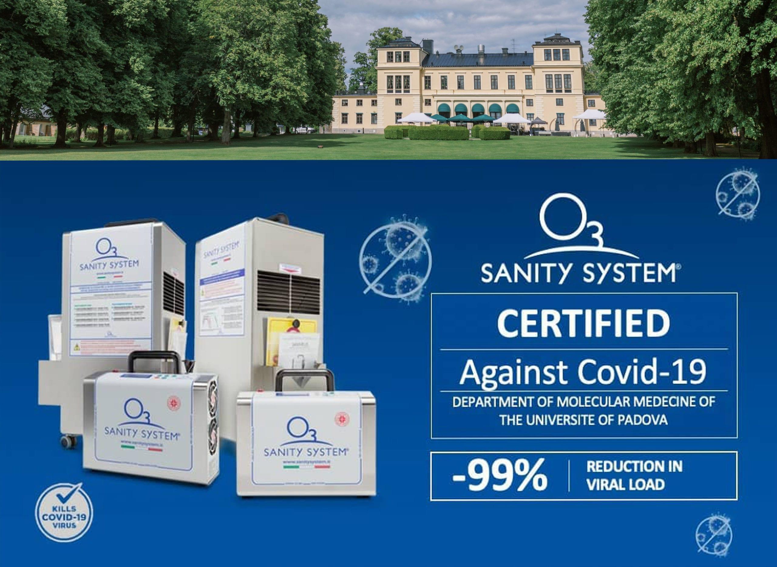 Bild på Sanity systems produkter samt slottsbild